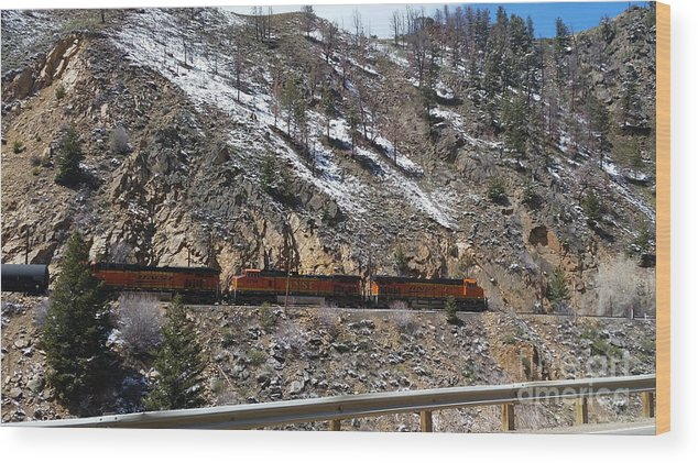 Wood Print featuring the photograph Snowy Train by Faye Smiley-Aakre
