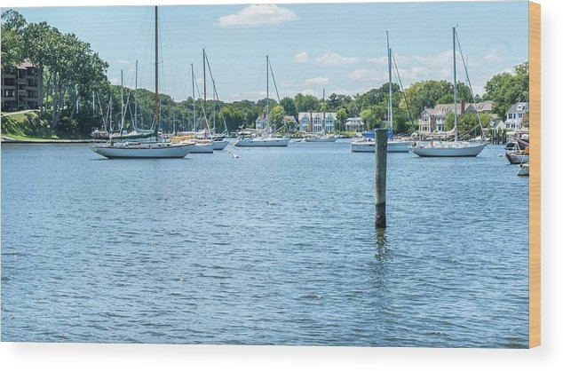 Annapolis Wood Print featuring the photograph Spa Creek In Blue by Charles Kraus