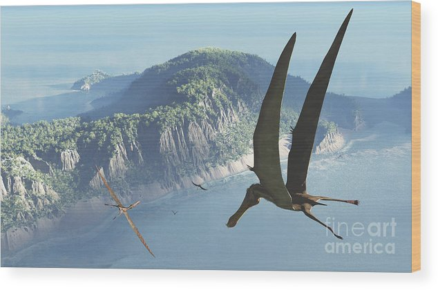 Earth Wood Print featuring the digital art Species From The Genus Anhanguera Soar by Walter Myers