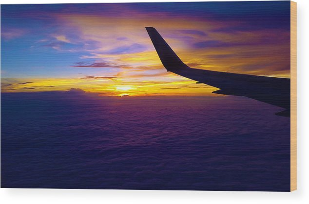 Sunrise Wood Print featuring the photograph Sunrise Above The Clouds by Judi Saunders