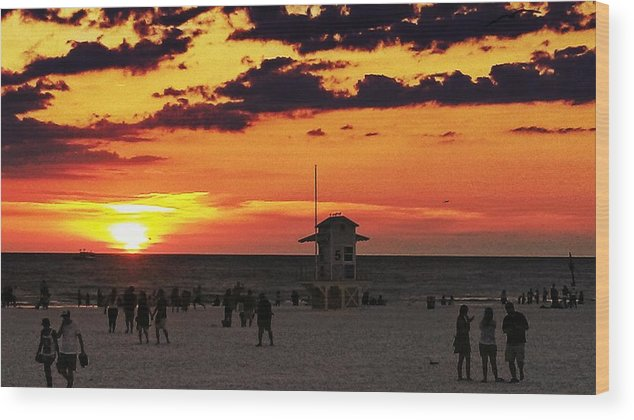 Wood Print featuring the digital art Sunset On The Clearwater Beach by Alfred Blaho