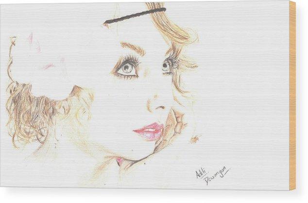Singer Wood Print featuring the drawing Taylor Swift by Aditi Dewangan