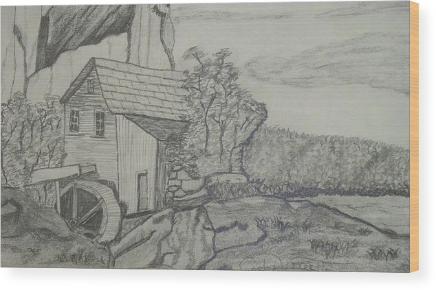 Landscape Wood Print featuring the drawing The Old Mill by Carla Vivrette