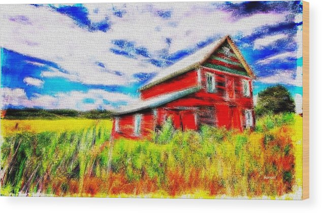 Red Wood Print featuring the painting The Old Red Barn by Don Barrett