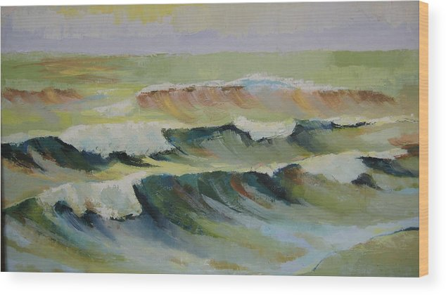 Seascape Wood Print featuring the painting The Sea by Mabel Moyano