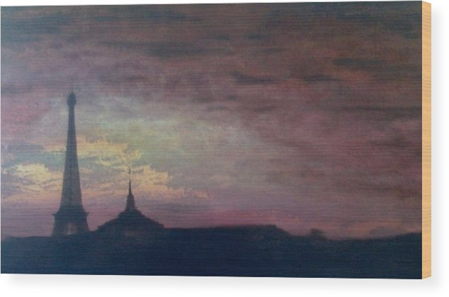 Landscape Paris France Calm Wood Print featuring the painting This Is Not The Eiffel Tower by Sally Van Driest