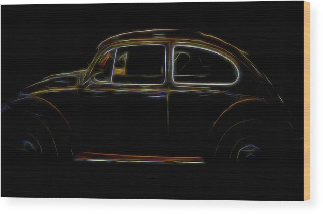 Auto Wood Print featuring the digital art 1966 Vw Bug by Elijah Knight