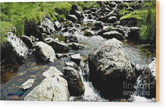 Water Wood Print featuring the photograph Water Flowing 7 by LDS Dya
