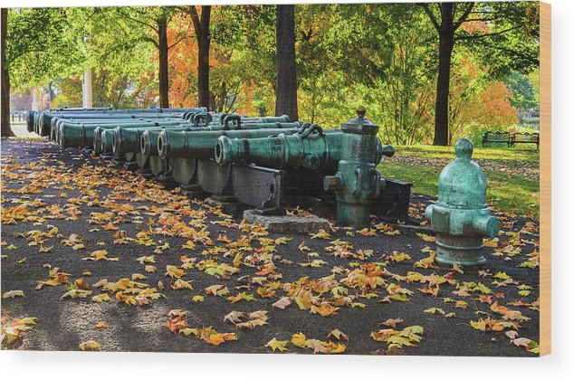 West Point Wood Print featuring the photograph West Point Fall Leaves by Chris Augliera