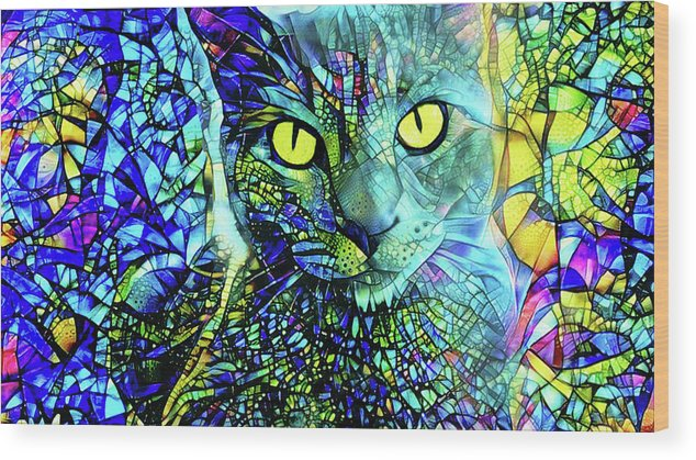 Gray Cat Wood Print featuring the digital art Binx The Stained Glass Cat by Peggy Collins
