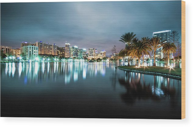 Outdoors Wood Print featuring the photograph Orlando Night Cityscape by Sky Noir Photography By Bill Dickinson