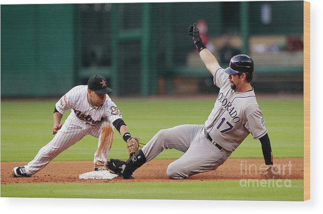 Stretching Wood Print featuring the photograph Todd Helton by Bob Levey