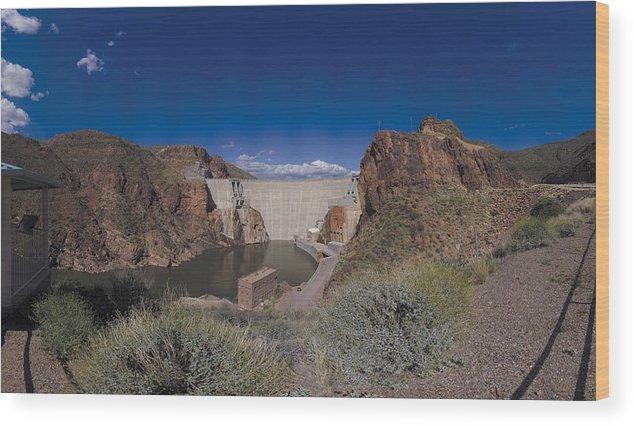 Dam  Wood Print featuring the photograph Roosevelt Dam Arizona by Brian Lockett