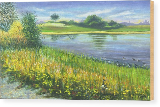 Marshlands Wood Print featuring the painting Autumn At Gateway National Park by Madeline Lovallo