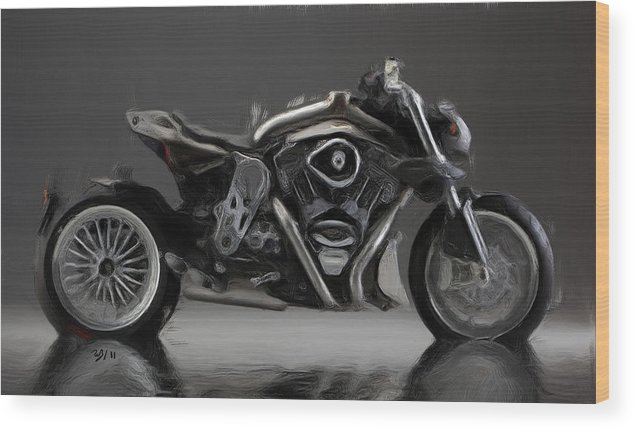 Italian Motorcycles Wood Print featuring the painting Cr And S Duu by Wayne Bonney