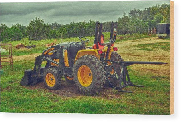 Transportation Print Wood Print featuring the photograph Farm Tractor by Kristina Deane