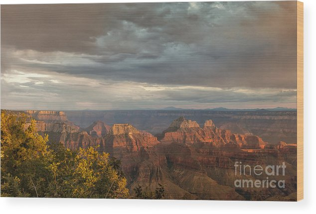 Southwest Wood Print featuring the photograph Grand Canyon North Rim Sunset by Sandra Bronstein
