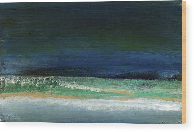 Ocean Wood Print featuring the painting High Tide- Abstract Beachscape Painting by Linda Woods