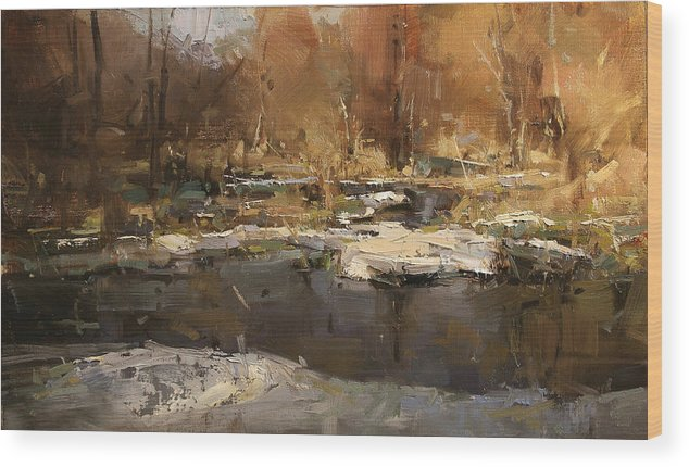 Landscape Wood Print featuring the painting Lost In Spring by Tibor Nagy
