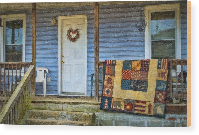 Porch Wood Print featuring the photograph Quilt On The Front Porch by Kathy Jennings