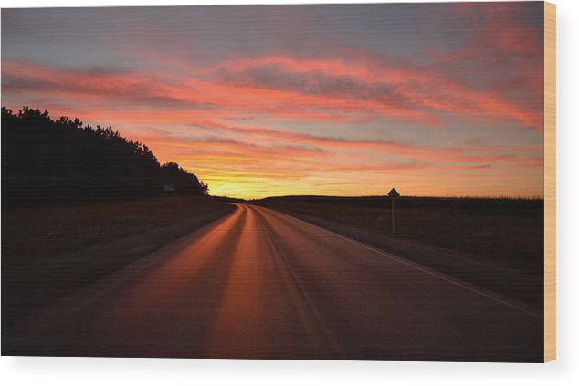 Sunset Wood Print featuring the photograph Road To Tomorrow by AZ Imaging