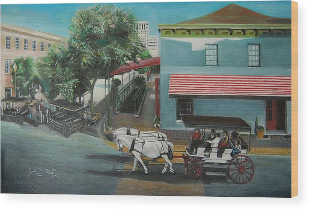Wood Print featuring the painting Savannah City Market by Jude Darrien