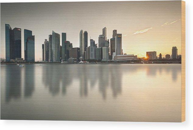 Skyscrapers Wood Print featuring the photograph Singapore Cbd by Jolemar Cruzado