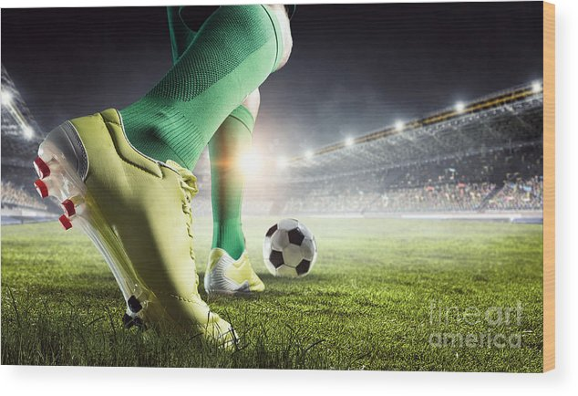 Play Wood Print featuring the photograph Soccer Player In Action. Mixed Media by Sergey Nivens