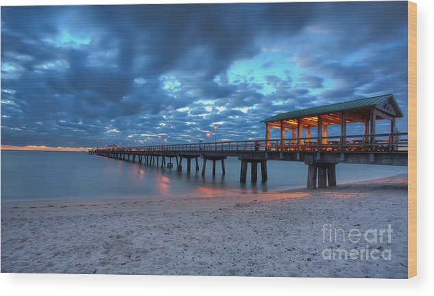 Sunrise Wood Print featuring the photograph Sunrise At Anglin's Fishing Pier by Anthony Festa