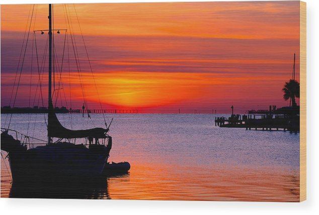Bay Wood Print featuring the photograph Sunset @ Galveston Bay by Trisha Anderson