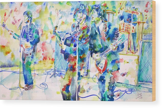 The Wood Print featuring the painting The Beatles Live Concert - Watercolor Portrait by Fabrizio Cassetta