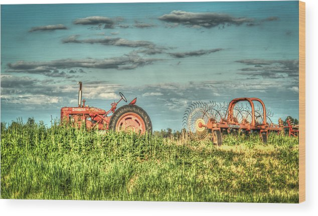 Tractor Wood Print featuring the photograph Tractor And Hay Rake by Douglas Barnett