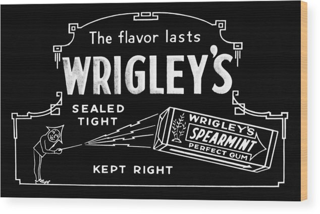 Wrigleys Wood Print featuring the photograph Wrigleys Spearmint Gum by Bill Cannon