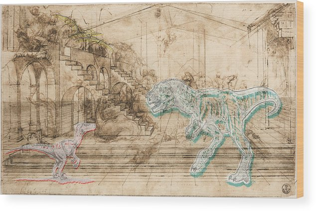 Dinosaur Wood Print featuring the mixed media Dinosaur Battle by Marcus Jules