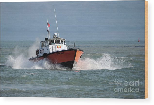Boat Wood Print featuring the photograph Huron Belle Pilot Boat by Ronald Grogan
