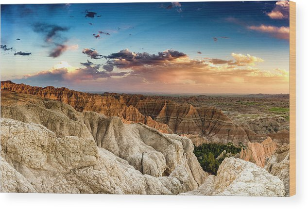 Wood Print featuring the photograph Badlands Np Pinnacles Overlook 4 by Donald Pash