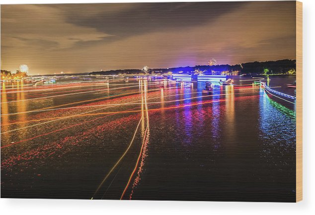 Sun Wood Print featuring the photograph Boats Light Trails On Lake Wylie After 4th Of July Fireworks by Alex Grichenko