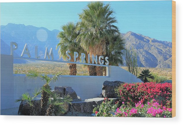 Palm Springs Wood Print featuring the photograph Palm Springs Welcome by Lisa Dunn