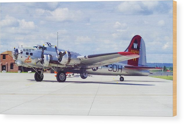 B-17 Bomber Wood Print featuring the photograph B-17 Bomber 5 by Mike Wheeler