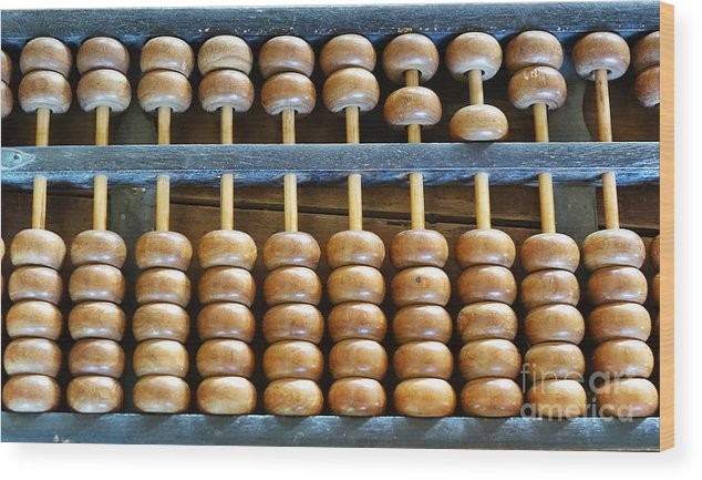 Abacus Wood Print featuring the photograph Old Chinese Abacus by Yali Shi