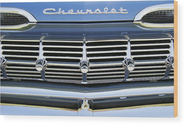 Antique Wood Print featuring the photograph 59 Chev by John Bartosik