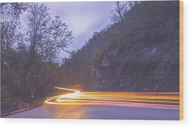View Wood Print featuring the photograph Automobile Traffic Long Exposure At Dusk In Pisgah National Park by Alex Grichenko