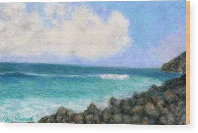 Rainbow Colors Pastel Wood Print featuring the painting Around The Point by Kenneth Grzesik