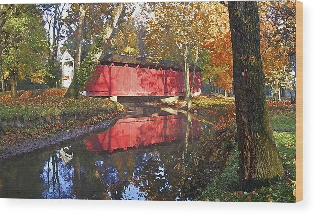 Covered Bridge Wood Print featuring the photograph Autumn Sunrise Bridge by Margie Wildblood