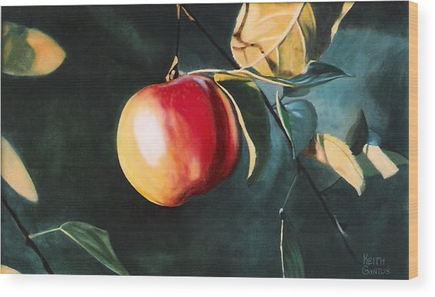 Apple Wood Print featuring the painting Before The Fall by Keith Gantos