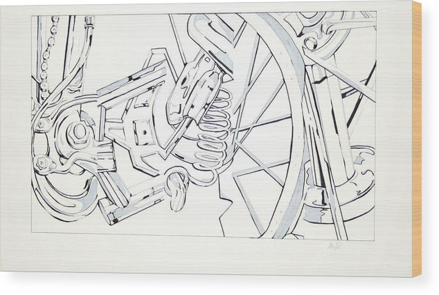 Bicycle Wood Print featuring the drawing Bicycle by Maryn Crawford