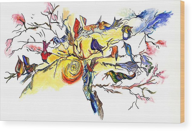 Birds Wood Print featuring the painting Birds On A Branch by Lily Hymen