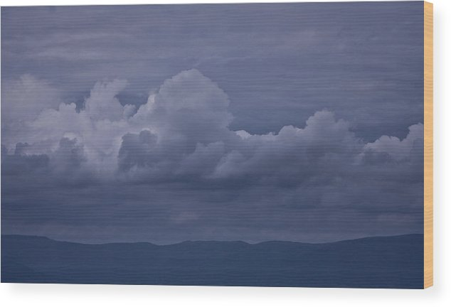 Storm Wood Print featuring the photograph Blue Ridge Mountain Storm In Virginia by Teresa Mucha
