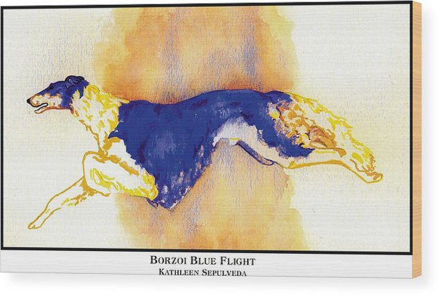 Borzoi Wood Print featuring the digital art Borzoi Blue Flight by Kathleen Sepulveda