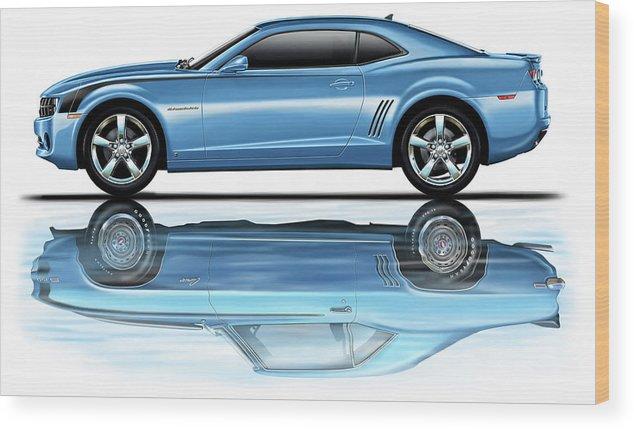 Camaro Wood Print featuring the digital art Camaro 2010 Reflects Old Blue by David Kyte